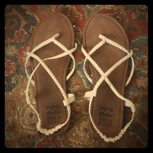 EUC: Strappy White Billabong Sandals- 8